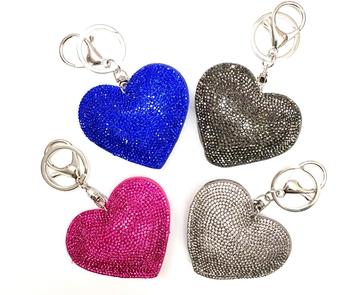 Image Rhinestone Heart Keychain
