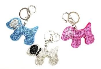 Image Rhinestone Dog Keychain