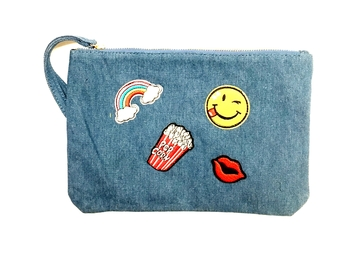 Image Denim Zippered Patch Purse