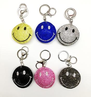 Image Rhinestone Smile Pave Keychain
