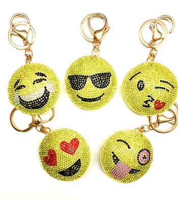 Image Rhinestone Smiley Pave Keychain