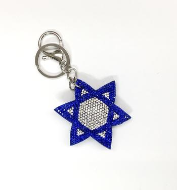 Image Rhinestone Jewish Star Keychain