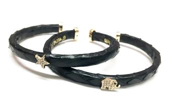 Image Snake Skin Rhinestone Cuff Bracelet