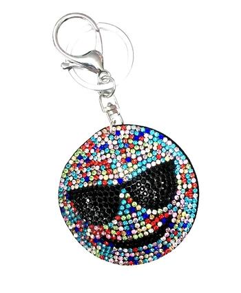 Image Rhinestone Rainbow Emoji Key Chain