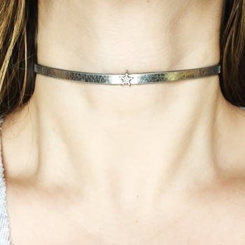 Image Leather Choker with Rhinestone Star