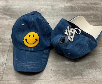 Image Denim Lace up Smile Baseball Hat
