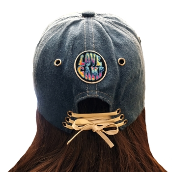 Image White Lace up Patched Basball Hat
