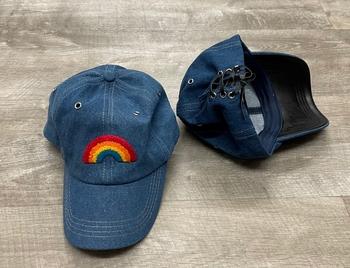 Image Black Lace up Rainbow Baseball hat