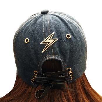 Image Black Lace up Patched Baseball hat