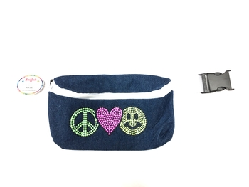 Image Denim Fanny Pack Peace, Love &  Happiness