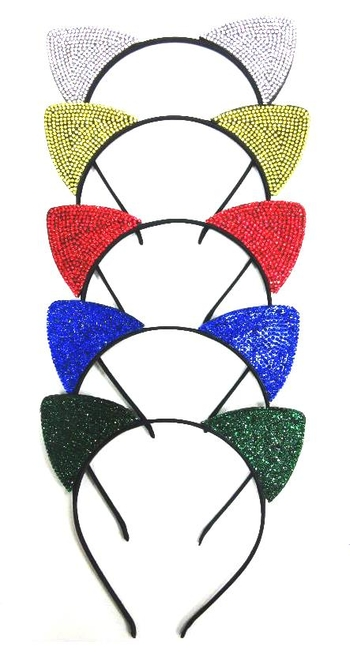 Image Color War Rhinestone Cat Ears Headband
