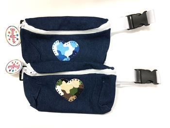 Image Denim Camouflage Heart Fanny Pack