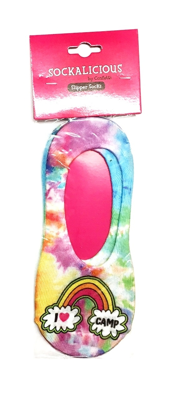 Image I Love Camp Rainbow Slipper Socks
