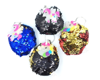 Image Sequin Color Changing Ball Unicorn Key Chain