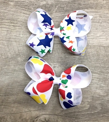 Image Large Hearts & Stars Grosgrain Bow Clippie