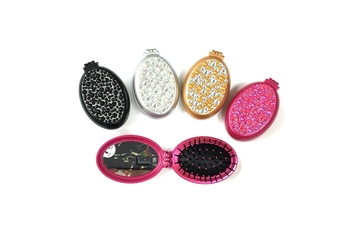 Image Rhinestone Pearl Oval Mirror Brush