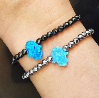 Image Hematite & Opal Hamsa Bracelet