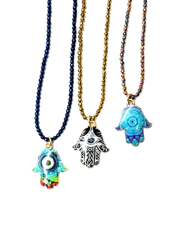 Image Beaded Epoxy Hamsa Choker
