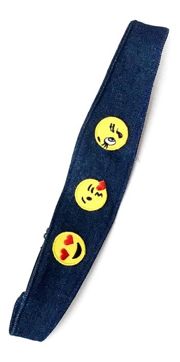 Image Denim Emojis Adjustable  Headwrap