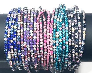 Image Rhinestone Stretch Multi Color Bracelet Set