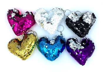 Image Sequin Heart Color Changing Key Chain
