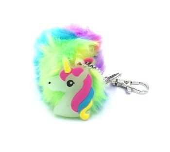 Image Unicorn Rainbow Plush Pom Keychain