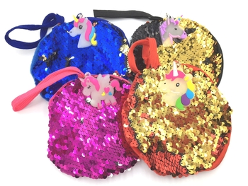Image Sequin Zippered Unicorn Round Purse