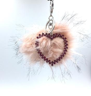 Image Pom with Rhinestone Heart Keychain