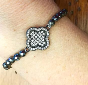 Image Pave Clover Beaded Bracelet