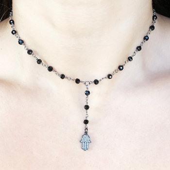Image Clear Pave Hamsa Y Rosary Choker
