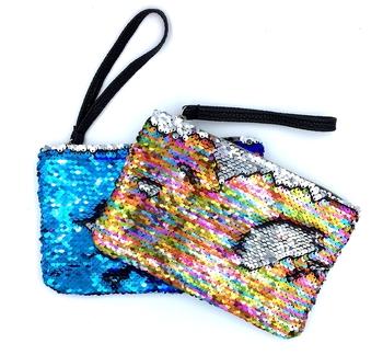 Image Sequin Color Changing Wristlet Mask Bag
