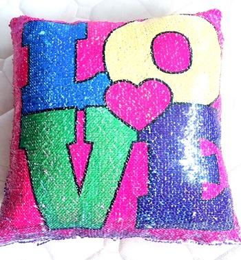 Image Sequin Love/ Sequin Camp Reversible Sequin Pillow