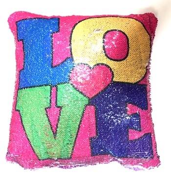 Image Sequin Love/ Sequin Camp Reversible Sequin Pillow