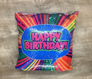 Image Flipping Sequin Happy Birthday Reversible Sequin Pillow