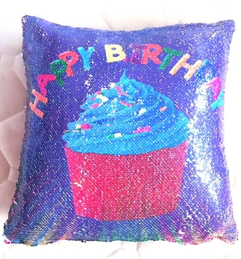 Image Sequin Happy Birthday Reversible Sequin Pillow