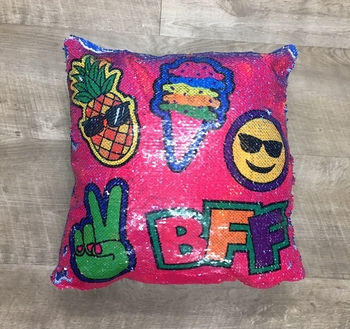 Image Flipping Sequin Bff to Unicorn  Pillow