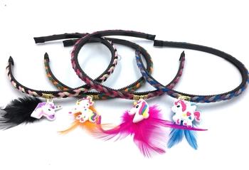 Image Unicorn Feather Braided Headband