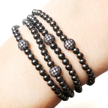 Image Hematite Stretch Beaded Ball Bracelet