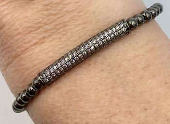 Image Pave Bar Stretch Beaded Bracelet