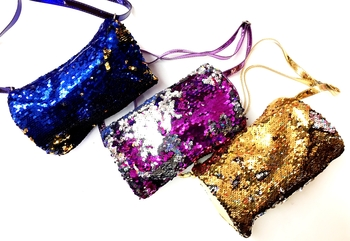 Image Sequin Barrel Zippered Bag