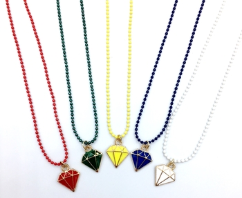 Image Camp Color Diamond Jewel Ball Chain Necklace