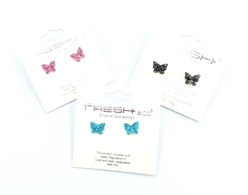Image Butterfly Rhinestone Earrings