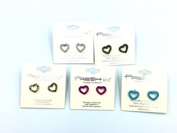 Image Open Heart Rhinestone Earrings