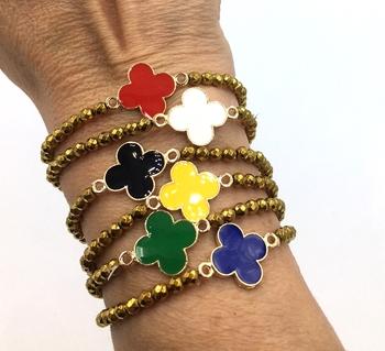 Image Beaded Clover Stretch Bracelet