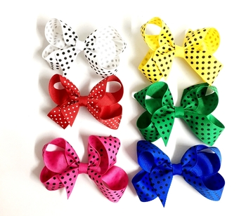 Image Dotted Small Standup Bow Barrette