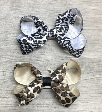 Image Animal Print Small Standup Bow Clippie