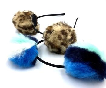 Image Pom Pom Ombre & Animal Print Headband