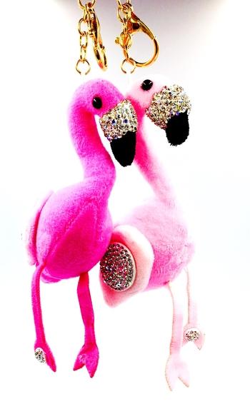 Image Rhinestone Plush Flamingo Keychain