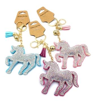 Image Pastel Rhinestone Unicorn Keychain