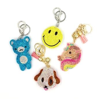 Image Rhinestone Happy Keychain